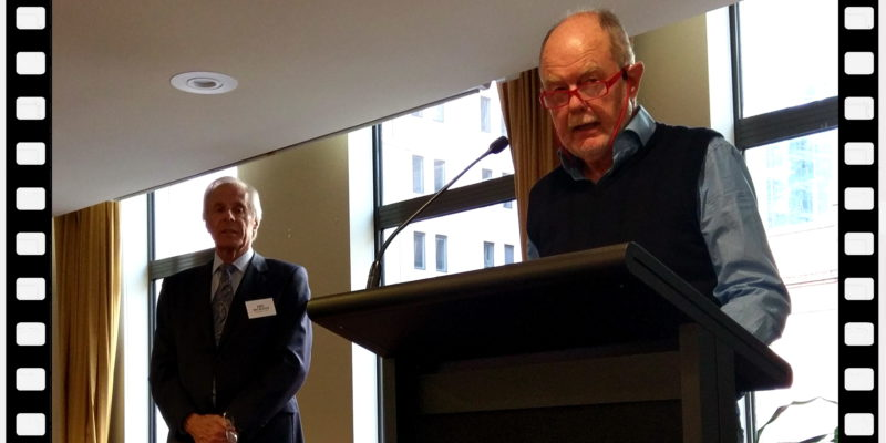 NSW branch President John Rochester with National President Tim Reed at the Podium. NSW luncheon May 2018